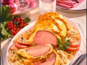 Kasseler in Brioche auf Sauerkraut Rezept