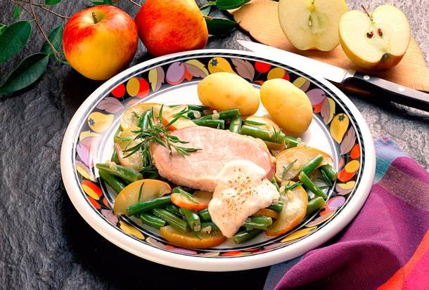 Kasseler mit Bohnen und Apfel Rezept