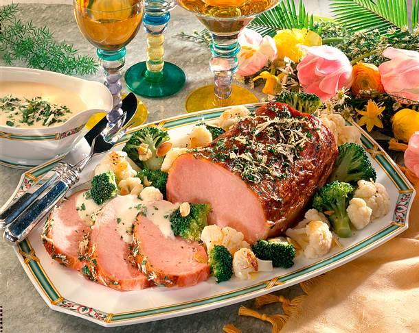 Kasseler mit Broccoli-Blumenkohlgemüse und Meerrettich Rezept