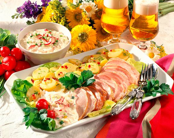 Kasseler mit Kartoffelsalat und Remoulade Rezept