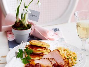 Kasseler mit Rahmlinsen und Kartoffel-Pancakes Rezept