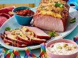 Glasierter Kasslerbraten mit Chili-Salsa-Dip und Mixed-Pickles-Remoulade Rezept