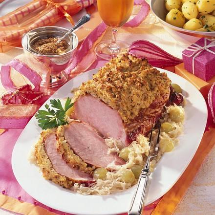 Kasseler mit Zwiebel-Senf-Kruste Rezept