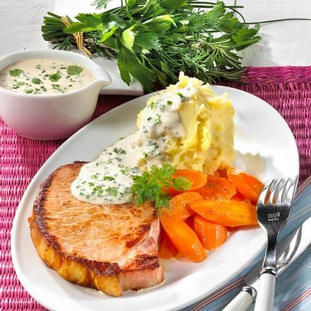 Kasseler-Steak mit grüner Soße (für 1 Person) Rezept
