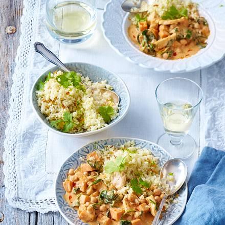 Kichererbsen-Spinat-Curry auf Blumenkohl-Limettenreis Rezept