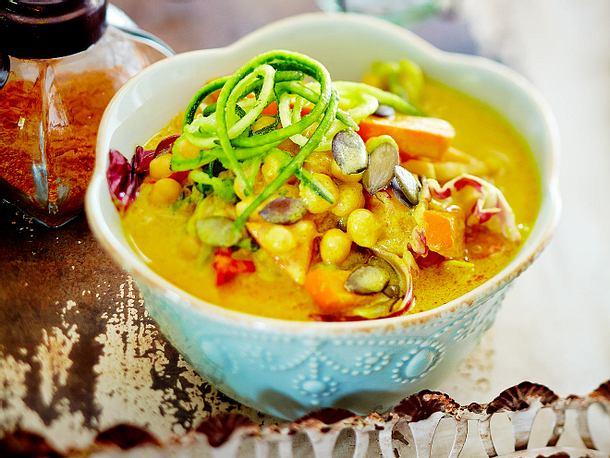 Kichererbsencurry mit Kürbis und Zucchini Rezept