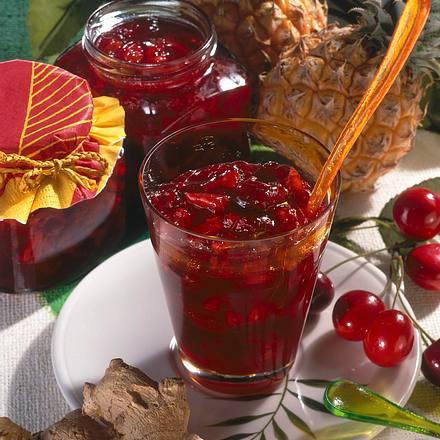 Kirsch-Ananas-Konfitüre mit Ingwer Rezept