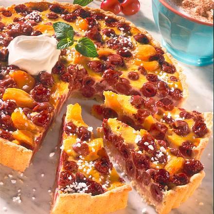 kirsch aprikosen tarte rezept chefkoch rezepte auf kochen backen und schnelle. Black Bedroom Furniture Sets. Home Design Ideas