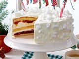 Kirsch-Hagebutten-Sahne-Torte mit Zuckerstangen Rezept
