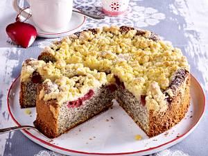Kirsch-Mohnkuchen mit Zitronenstreuseln Rezept