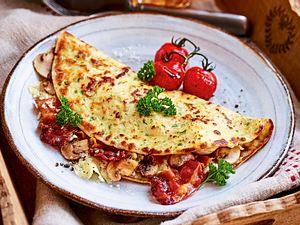 """Klappt-schon-Pfannkuchen """"Bacon and Cheese"""" Rezept"""