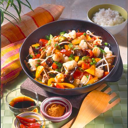 Knackiges Wok-Gemüse mit Schweinegeschnetzeltem Rezept