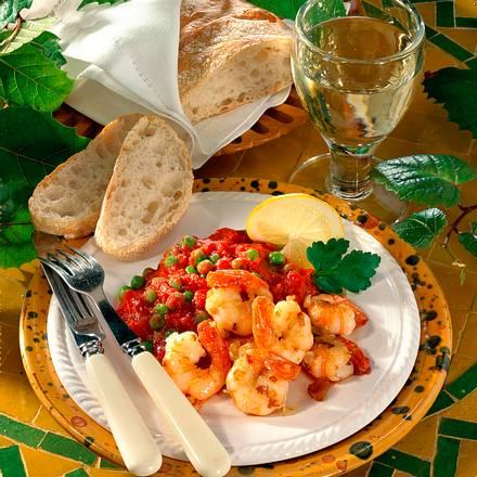 Knoblauch-Garnelen mit Tomatensoße Rezept