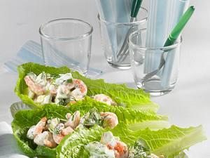 Knoblauch-Shrimps auf Römersalat Rezept