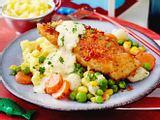 Knusper-Seelachs mit Senfsoße und Gemüse Rezept