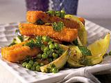 Knusprige Fischstäbchen mit Erbsen und Zucchini Rezept