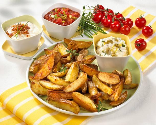 Knusprige Kartoffelspalten vom Blech Rezept