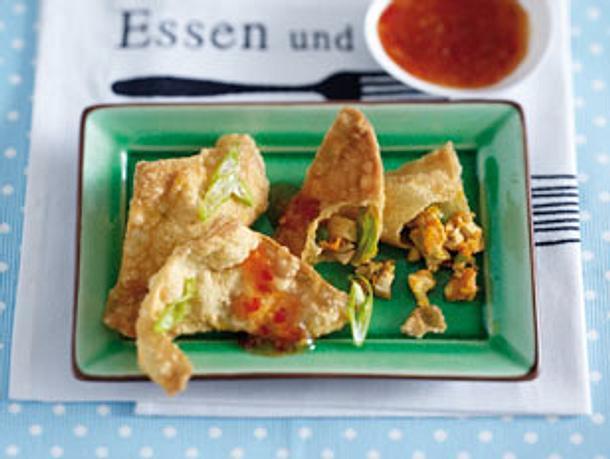 Knusprige Wan-Tan mit Hähnchen Rezept