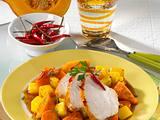 Knuspriger Putenbraten mit Kürbis-Möhrengemüse Rezept