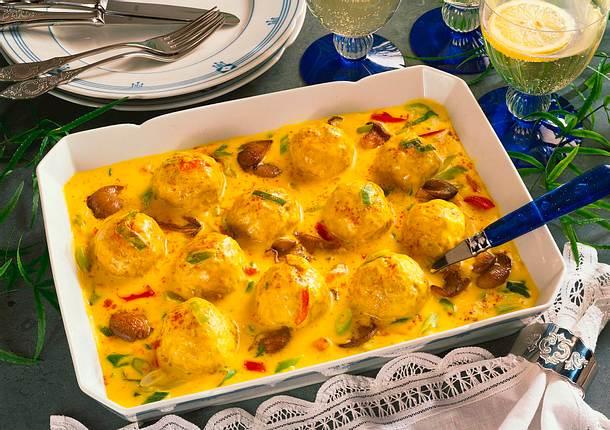 Königsberger Klöße in Curry- Sahne-Soße mit Austernpilze Rezept