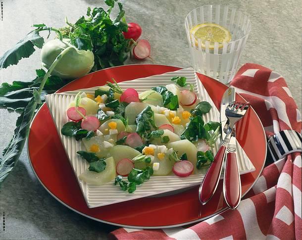 Kohlrabi-Brunnenkresse-Salat Rezept