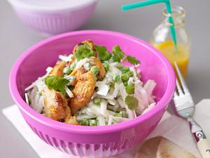 Kohlrabi-Erbsen-Salat mit Hähnchenstreifen Rezept