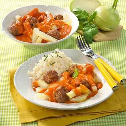 Kohlrabi in Tomaten-Mozzarella-Sahne mit Hackbällchen Rezept