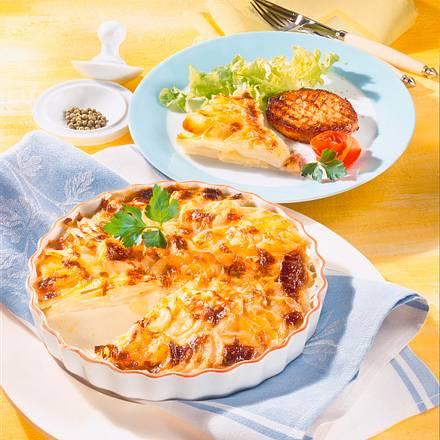 Kohlrabi-Kartoffel-Gratin mit Schweineschnitzel Rezept