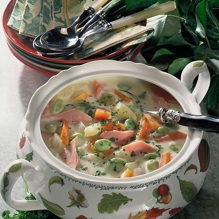 Kohlrabi-Möhren-Suppe mit Schinken Rezept