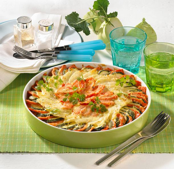 Kohlrabi-Möhren-Zucchini-Gratin Rezept