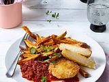Kohlrabi-Schnitzel mit Süßkartoffelpommes und Tomatensoße Rezept