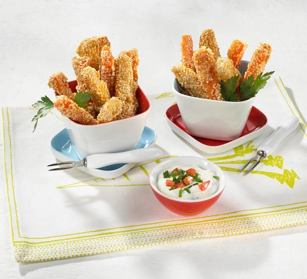 Kohlrabi- und Möhrenstifte im Sesammantel mit Frischkäsecreme Rezept