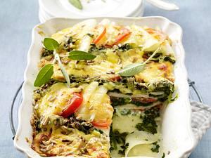 Kohlrabilasagne mit Schinken und Spinat Rezept