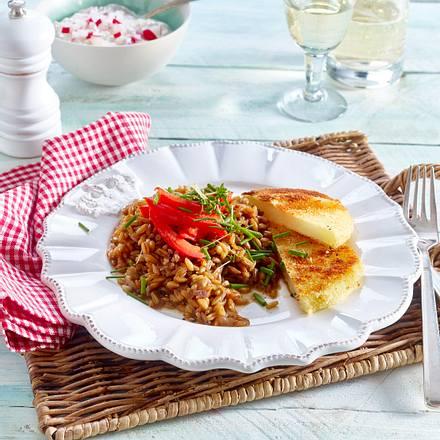 Kohlrabischnitzel mit Grünkern-Risotto und Schafskäsedip Rezept