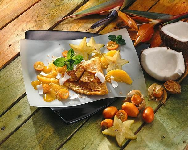 Kokos-Crêpes mit exotischen Früchten Rezept