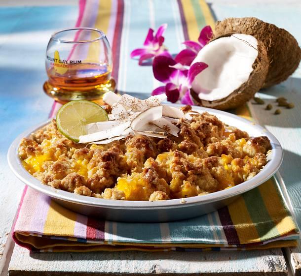Kokos-Crumble mit Mangos Rezept