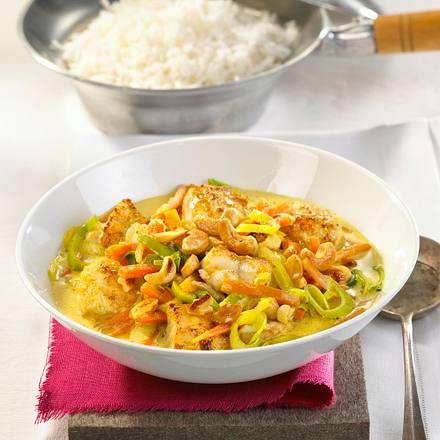 Kokos-Fisch-Curry mit Cashewkernen Rezept