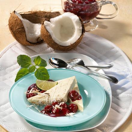 Kokos-Joghurt -Eiscreme mit heißen Kirschen Rezept