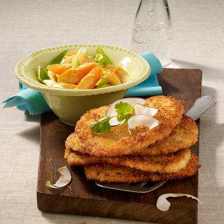 Kokos-Koriander-Schnitzel mit Möhren-Curry und Lauchzwiebeln Rezept