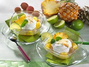 Kokoscreme mit Litschis und Ananas Rezept