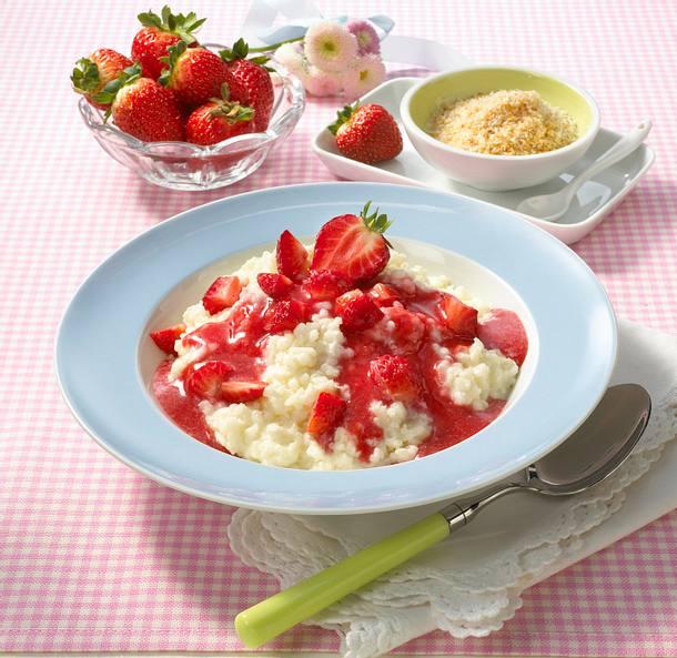 Kokosmilchreis mit Erdbeersoße  Rezept