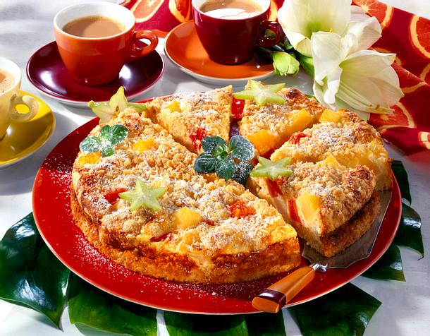 Kokosstreuselkuchen mit Obst Rezept