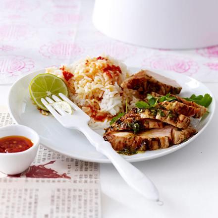 Koriander-Hähnchen mit Reis Rezept