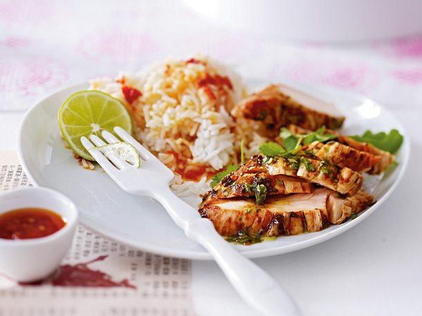 Korianderhähnchen mit Reis Rezept