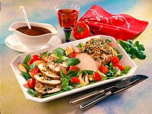 Kotelett-Braten mit Zuckererbsen-Tomaten-Gemüse Rezept