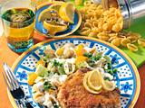 Kotelett in Käsehülle mit Nudel-Salat Rezept