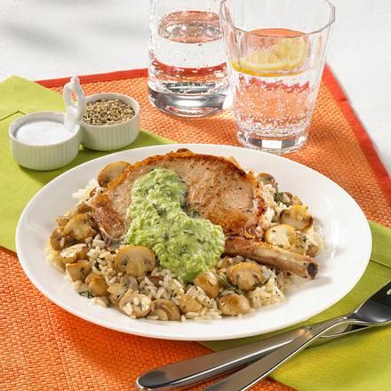 Kotelett mit Champignon-Reis (Diabetiker) Rezept