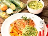 Kotelett mit Zucchini-Soße und Kartoffeln Rezept