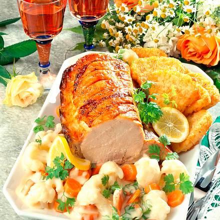 Kotelettbraten mit Blumenkohl-Möhren-Gemüse Rezept