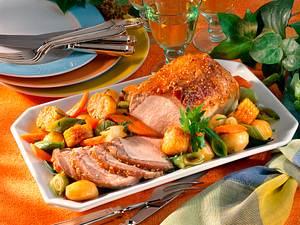 Kotelettbraten mit Schmorgemüse und Kartoffeln Rezept